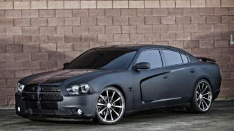 Black cars muscle dodge charger matte widescreen wallpaper