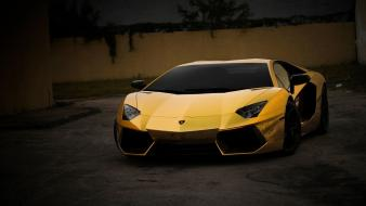 Cars lamborghini aventador yellow wallpaper