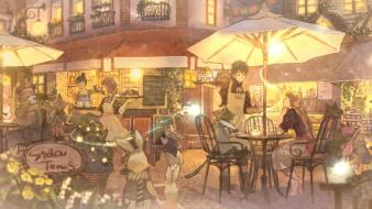 Chairs cafe bears anime boys umbrellas girls wallpaper