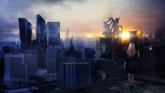 Cityscapes digital art fantasy futuristic city wallpaper