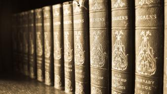 Close-up old library classic books antique wallpaper