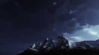 Clouds dark night storm mountain view wallpaper