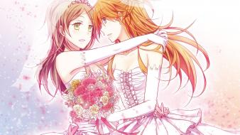 Dresses orange anime girls detached sleeves tiaras wallpaper