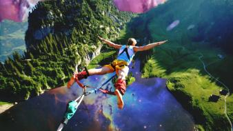 Fantasy art lakes games photomanipulation fun bungeejumping Wallpaper
