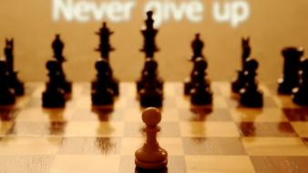 Figure chess typography never give up wallpaper