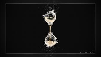 Hourglass water drops questions motivation black background time wallpaper