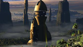 Landscapes cityscapes futuristic science fiction wallpaper