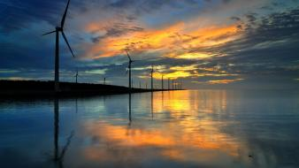 Landscapes lakes windmills skyscapes reflections wind turbines wallpaper