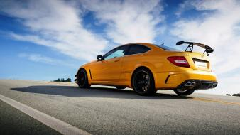 Low-angle shot c63 mercedes benz black series wallpaper