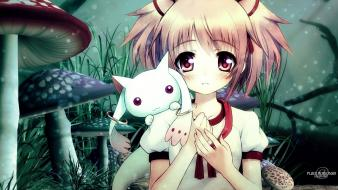 Madoka magica blush kaname ribbons eyes kyubey wallpaper