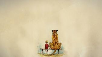 Minimalistic animals tigers calvin and hobbes bench artwork wallpaper