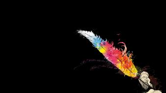 Multicolor men feathers sage books writers black background wallpaper
