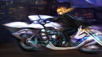 Night saber motorcycles fate/zero skyscapes anime girls Wallpaper