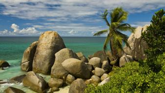 Ocean beach rocks islands palm trees seychelles wallpaper