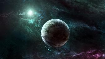 Outer space stars planets rings spaceships asteroids wallpaper