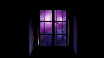 Outer space window panes black background wallpaper