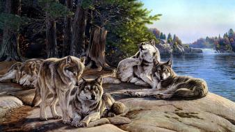 Paintings artwork lakes sunbathing wolves Wallpaper