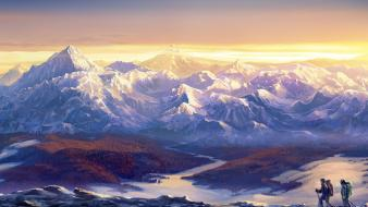Paintings mountains landscapes snow horizon streams mountaineers wallpaper