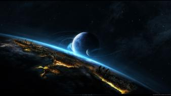 Planets fantasy art spaceships digital artwork 3d wallpaper
