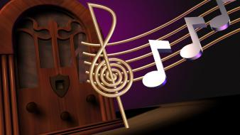 Radio clef staff antique musical notes old fashion wallpaper