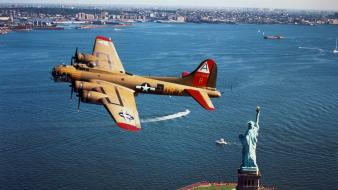 Statue of liberty b-17 flying fortress b17 wallpaper
