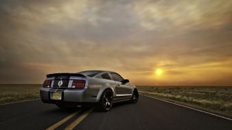 Sunset cars silver roads ford mustang shelby gt500 wallpaper