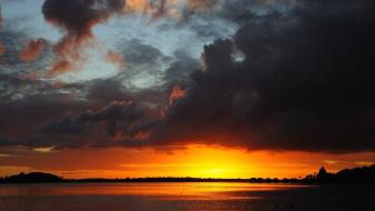 Sunset clouds french polynesia skyscapes bora sea wallpaper