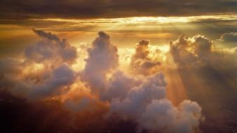 Sunset clouds sun skyscapes rays wallpaper
