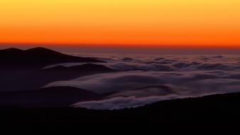 Sunset mountains dome great smoky foggy wallpaper