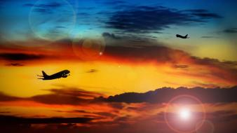 Sunset nature aircraft skyscapes wallpaper