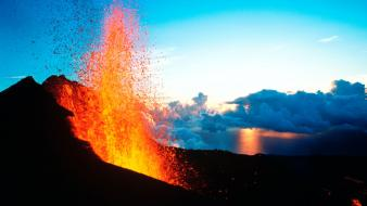 Volcanoes lava etna sea wallpaper