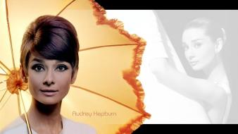 Women actress pinups audrey hepburn umbrellas hair up wallpaper