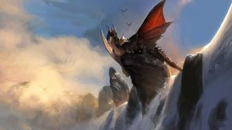 Artwork dragons fantasy art waterfalls wings Wallpaper
