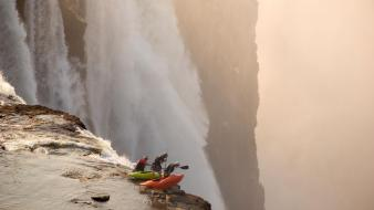 Autumn kayak men red bull illume waterfalls Wallpaper
