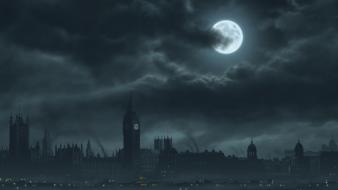 Big ben london moon artwork cities wallpaper