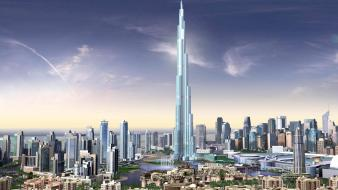 Burj khalifa dubai united arab emirates artwork cityscapes Wallpaper