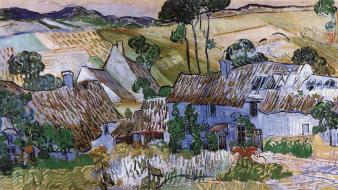 Country vincent van gogh artwork houses paintings wallpaper