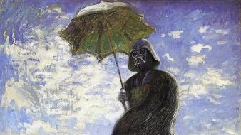 Darth vader star wars artwork funny oil painting wallpaper
