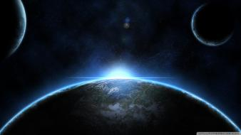 Earth moon sun outer space planets wallpaper
