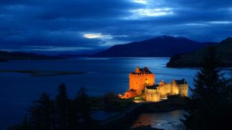 Eilean donan castle scotland houses lakes night wallpaper