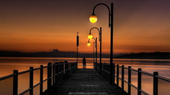 Lakes nature piers silhouettes street lights wallpaper