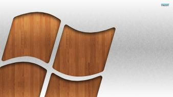 Microsoft windows brushed logos wood wallpaper