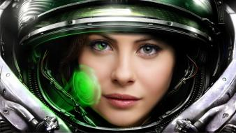 Starcraft astronauts faces green eyes holographic wallpaper