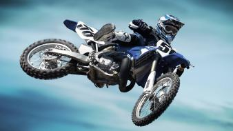 Yamaha blue jumping motocross motorbikes Wallpaper