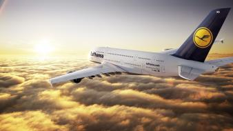 Airbus a380800 lufthansa airplanes wallpaper
