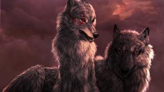 Animals artwork red eyes wolves Wallpaper