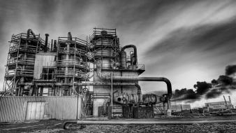 Architecture black and white cityscapes factories industrial plants Wallpaper