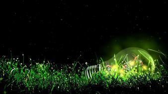 Artwork green light bulbs wallpaper