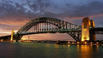 Australia sydney harbour bridge cityscapes city skyline landscapes wallpaper