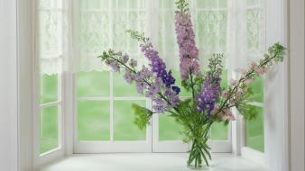 Bouquet purple flowers vase wallpaper